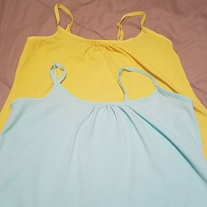 2pc setFaded Glory ruched tank top mint and yellow